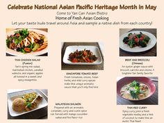 Celebrate Asian Pacific Heritage Month in May by trying different dishes from all parts of ASIA!
