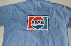 Vintage 1970's Pepsi Cola Soda Workshirt Light Blue Mechanic Uniform XL RARE | eBay