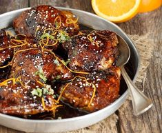 Asian Sweet and Spicy Sticky Chicken - A great weeknight meal! This Asian Sweet and Spicy Sticky Chicken is made in one pan in about 45 minutes (including 30 minutes of just simmering away time). Honey Soy Chicken, Sweet And Spicy Chicken, Sticky Chicken, Asian Chicken Recipes, Chicken Thigh Recipes, Chicken Salad Recipes, Healthy Chicken, Fodmap Recipes, Healthy Recipes