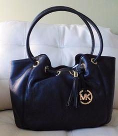 New Michael Kors Medium EW Ring Tote Black Leather #MichaelKors #TotesShoppers