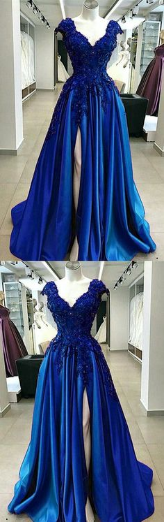 Royal Blue Lace Flowers Beaded Cap Sleeves V-neck Prom Dresses Split Evening Gowns