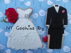 Bride & Groom Cookies Fun Cookies, Decorated Cookies, Sugar Cookies, Bride Groom, Wedding Bride, Wedding Dresses, Wedding Dress Cookies, Cookie Designs, Holiday Baking