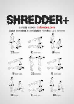 Shredder Plus Workout – Concentration – Full Body – Fitness Maxx Weight Training Workouts, Gym Workout Tips, Boxing Workout, Body Workouts, Workout Plans, Tabata Workouts, Workout Men, Body Weight Training, Full Body Dumbbell Workout