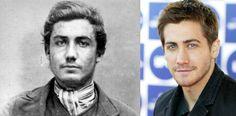 John Allan, convicted criminal c 1870, and Jake Gyllenhaall - cross century look-alikes (thx @ my daguerreotype boyfriend)