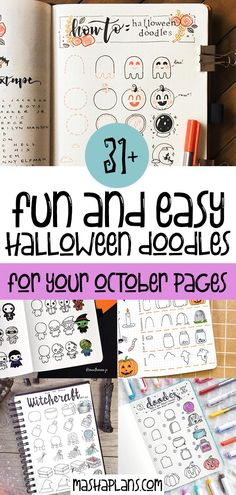 Get tons of Halloween Bullet Journal ideas - doodle tutorials, headers, Bullet Journal spreads. All the inspiration you need to create your own amazingly spooky Halloween Bullet Journal layouts, including - cover page, monthly log, weekly spreads. habit trackers and more. #mashaplans #bulletjournal #halloween #bujoideas