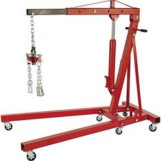 Strongway Hydraulic Engine Hoist with Load Leveler – 2-Ton Capacity, 1in.-82 5/8in. Lift Range
