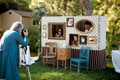 This photobooth would be great for a family reunion! Diy Photo Booth, Wedding Photo Booth, Photo Booth Backdrop, Wedding Photos, Photo Booths, Wedding Chair Decorations, Wedding Chairs, Craft Wedding, Diy Wedding