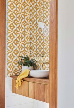 Shelley fell in love with the yellow 'Rayos Del Sol' tiles from Jatana Interiors, so much so that she designed the bathroom around them. Bathroom Red, Big Bathrooms, Bathroom Plants, Wooden Bathroom, Bathroom Signs, Small Bathroom, Bathroom Ideas, Bathroom Storage, Bathroom Gallery