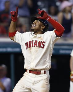 Cleveland Indians' Francisco Lindor celebrates after hitting a solo home run off Tampa Bay Rays pitcher Erasmo Ramirez during the eighth inning of a baseball game, Monday, June 20, 2016, in Cleveland. The Indians won 7-4. (AP Photo/Ron Schwane)