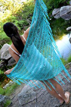 Torquoise Summer Shawl Triangle Boho Beach Shawl by GrahamCrafter, $58.00