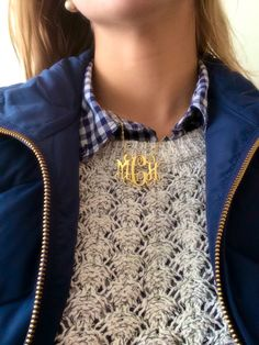 """thepreppyblonde: """" OOTD for yet another early 8:00am. Please pardon my collar's state of disarray Sweater: Loft Plaid Buttondown: Gap Vest: JCrew """""""