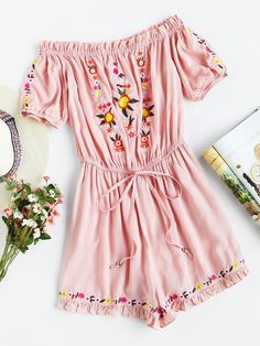 Shop Frill Trim Drawstring Waist Embroidered Bardot Playsuit at ROMWE, discover more fashion styles online. Girls Fashion Clothes, Teen Fashion, Fashion Dresses, Cute Dresses, Casual Dresses, Casual Outfits, Cute Summer Outfits, Spring Outfits, Mode Rockabilly