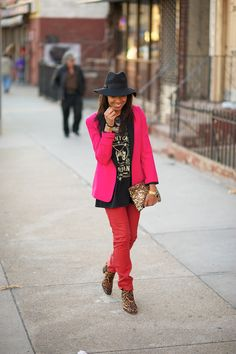 Pink blazer. Red pants. Mens Tee + mens boots