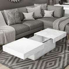 White Gloss Storage Coffee Table - Rectangular - Tiffany | Furniture123