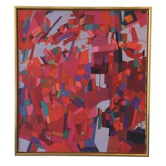 Image of Modern Abstract Lois Foley Painting Accent Colors, Art World, Contemporary, Modern, Oil On Canvas, Wall Art, Abstract, Frame, Projects