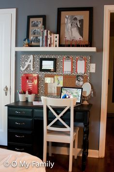Adorable little office space. The fabricated piece of wood acts as nice backdrop for the other elements and saves the wall fro,m numerous holes. IMG_1647.jpg by O My Family, via Flickr