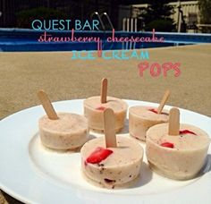 Ripped Recipes - Strawberry Cheesecake Protein Ice Cream Pops - cool down for summer with these @Gina Ceja Nutrition ice cream pops!! they are SUPER Easy to make, and the taste just like the strawberry cheesecake pops from good humor! but THEY ARE STACKED WITH PROTEIN<3