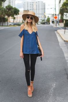 Chambray off the shoulder top + black jeans + platform sandals