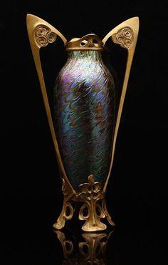 : Bohemian Art Nouveau glass vase. See also: Glass: Nouveau et Deco