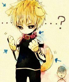 Genos, cat, cute, chibi, Saitama; One Punch Man