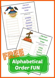 FREE Put Words in Alphabetical Order Printables!