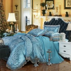 Steel Blue and Silver Royal Palace Style Abstract Design Victorian Pattern Sequin Lace Edge Jacquard Design Full, Queen Size Bedding Sets