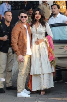 Priyanka Chopra Flies off To Jodhpur With Family And Friends Ahead Of Her Grand Destination Wedding - HungryBoo Indian Attire, Indian Wear, Indian Outfits, Indian Style, Indian Designer Suits, Designer Salwar Suits, Desi Wedding Dresses, Salwar Suits Party Wear, Priyanka Chopra
