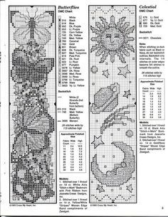 Butterflies and celestial bookmark patterns. Good for cross stitch or loom beading.