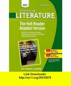 Holt Elements of Literature: The Holt Reader, Adapted Version Sixth Course, British Literature Elements Of Literature, The Holt, British Literature, Ebooks, Poetry, Student, Pdf, Tutorials, Poetry Books