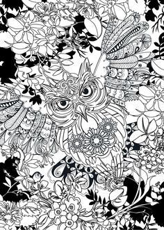 Owl Coloring Books for Adults - 25 Owl Coloring Books for Adults , Adult Coloring Owl Blank Coloring Pages, Detailed Coloring Pages, Printable Adult Coloring Pages, Animal Coloring Pages, Coloring Pages For Kids, Coloring Books, Owl Patterns, Colorful Drawings, Illustration