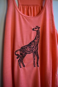 Embroidered Giraffe Tank Top / Fun and by NewVintageEmbroidery