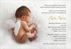 Winged Innocence Baptism Christening Invitations: Our studio Baptism Christening invitation, Winged Innocence features a precious newborn baby with ti Christening Invitations Girl, Baby Shower Invitations, Invites, Wedding Invitations, Gift From Heaven, Heaven Sent, Shower Rose, Baby Kids, Baby Boy