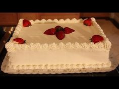 White sheet cake with strawberries and whip cream decoration - Baking with Nadia