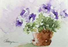 painting flower pots | Purple Flowers in Flower Pot Watercolor Painting by RoseAnnHayes