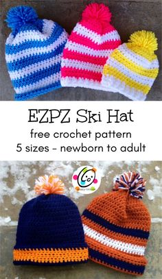 Free Pattern: Fantastic Ski Hat : Free Crochet Pattern: Fantastic Ski Hat Super easy beanie for the whole family. Easy Crochet Hat, Crochet Hats For Boys, Crochet Winter Hats, Crochet Beanie Pattern, Cute Crochet, Crochet Baby, Crochet Patterns, Scarf Crochet, Modern Crochet