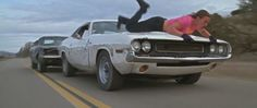 """""""Vanishing Point Dodge Challenger"""" (with Zoe Bell on the hood, being menaced by Kurt Russell in a """"Death-proofed"""" Dodge Charger) in Quentin Tarantino's 'Death Proof' (Dimension Films, 2007)"""