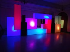 Stage Design - Giant glowing 3D Tetris shapes made from coroplast. The tallest piece meausred at 8 foot by 2 foot. The lights inside changed color. Best VIP room design we've EVER created.  LessThanThree Designs  https://www.facebook.com/lessthanthreedesigns