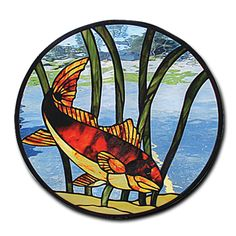Red Fish stained glass panel, very nice pattern!
