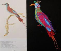 Peinture, dessin, tableau pour sous-verre, gouache, encre couleur, multicolore, oiseau exotique, tropical