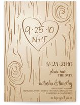 Keep the brown invite with the tree carvings and bark markings (embossed would be awesome, especially on already textured paper!)...change the script for the info; it doesn't fit the cuteness of the rest of the invite. maybe handwriting, or a plain font. Inked with opaque white or something light. Pearlized embossing powders for some of it...and fairy tale-like red flowers? Or some other incorporation of red.