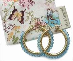 Viv And Ingrid Aquamarine Swarovski Hoops Bespoke Jewellery, Online Gifts, Fashion Brands, Cuff Bracelets, Silver Jewelry, Swarovski, Coin Purse, Wallet, Gold