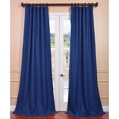 @Overstock   Royal Blue Linen Curtain Panel   Rich In Texture These Heavy Blue  Curtains