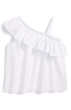 Milly Minis Poplin Ruffle One-Shoulder Top (Big Girls) available at #Nordstrom
