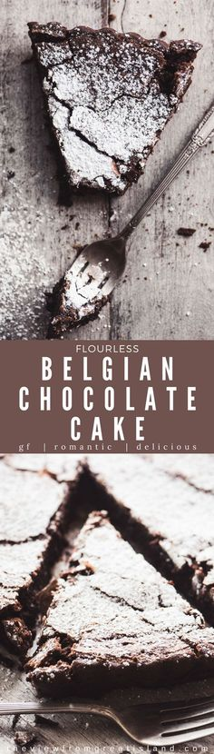 This Flourless Belgian Chocolate Cake is a chocolate lovers dream, and everybody needs a great gluten free chocolate dessert in their recipe repertoire. This easy chocolate cake makes an elegant base for any fancy toppings you might want to add, too, from Best Flourless Chocolate Cake, Flourless Desserts, Chocolate Sin Gluten, Flourless Chocolate Cakes, Chocolate Desserts, Cake Chocolate, Chocolate Chips, Chocolate Milkshake, Healthy Chocolate