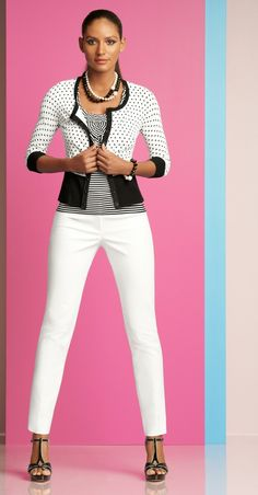 A fun, versatile black and white polka dot cardigan looks great with a classic white ankle pant.  #whbm #spring