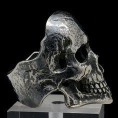 Skull Ring One-of-a-kind Mens Biker Sterling Silver by signorings Mens Skull Rings, Silver Skull Ring, Skull Jewelry, Jewelry Art, Silver Jewelry, Memento Mori Ring, Piercings, Mens Ring Sizes, Skull Fashion