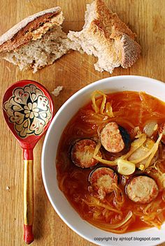 Smoked sausage and sauerkraut soup