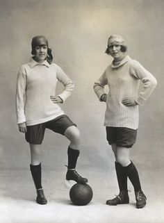 Marjorie and Dorothy Dolman, members of the Gaiety Football (soccer) Team in their uniforms, 1919.