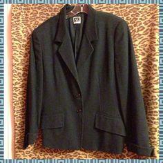 Anne Klein Cotton Midnight Blue Blazer. Size 14