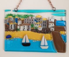 Unframed Fused Glass Picture of St Ives by SapphireFusedGlass Fused Glass, Stained Glass, St Ives Cornwall, Ocean, Frame, Seaside, Larger, Projects, Handmade